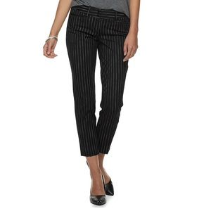 Apt 9 Torie straight leg ankle pants/black stripe